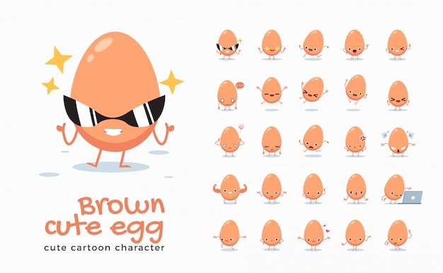 Conjunto de imagens de desenhos animados de ovo marrom. ilustração.