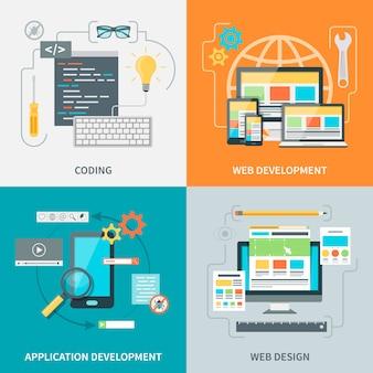 Conjunto de imagens de desenvolvimento de sites