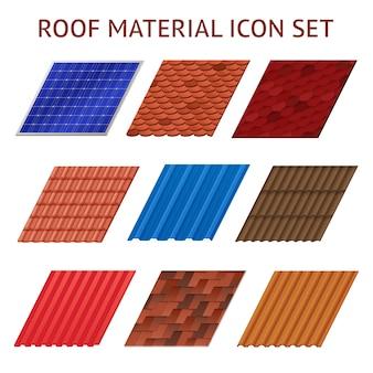 Conjunto de imagens de diferentes cores e formas fragmentos de telha de telhado isolado ilustração vetorial