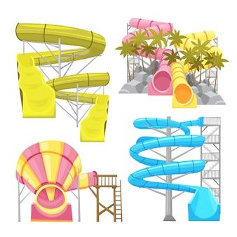 Conjunto de imagens de equipamentos aquapark