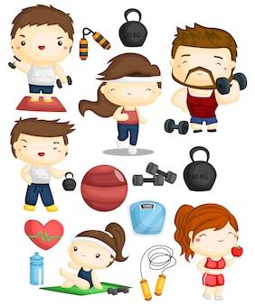 Conjunto de imagens de fitness