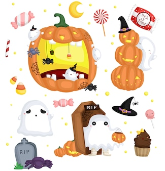 Conjunto de imagens de halloween