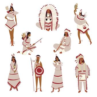 Conjunto de imagens de índios vermelhos. ilustração.