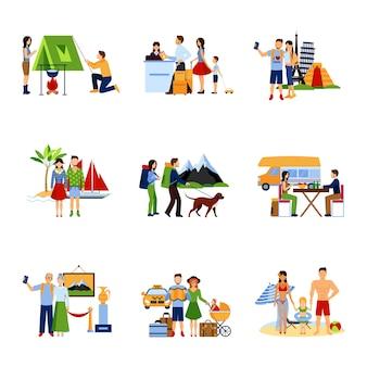Conjunto de imagens de opções de férias