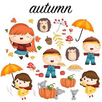 Conjunto de imagens de outono