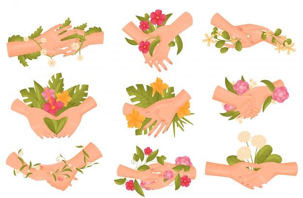 Conjunto de imagens de pares de mãos com flores e caules close-up.