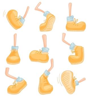 Conjunto de imagens de pernas em uma bota amarela em várias poses