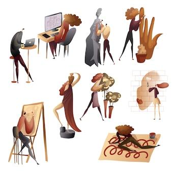 Conjunto de imagens de pessoas no processo criativo. ilustração.
