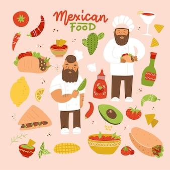 Conjunto de imagens de pratos mexicanos e ilustração plana de cozinheiros e chieves na cor de fundo