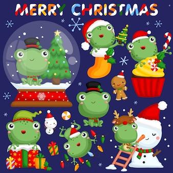 Conjunto de imagens de rã de natal