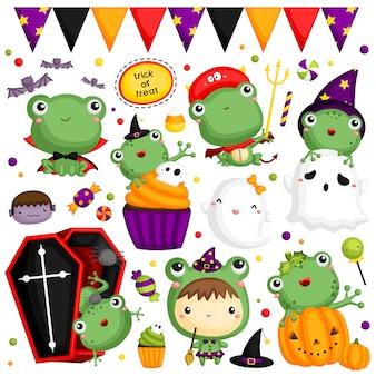 Conjunto de imagens de sapo de halloween