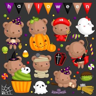 Conjunto de imagens de urso de halloween