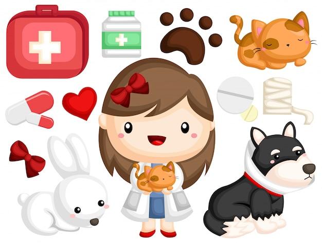 Conjunto de imagens do veterinário