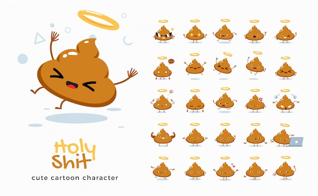 Conjunto de imagens dos desenhos animados de holy merda. ilustração.