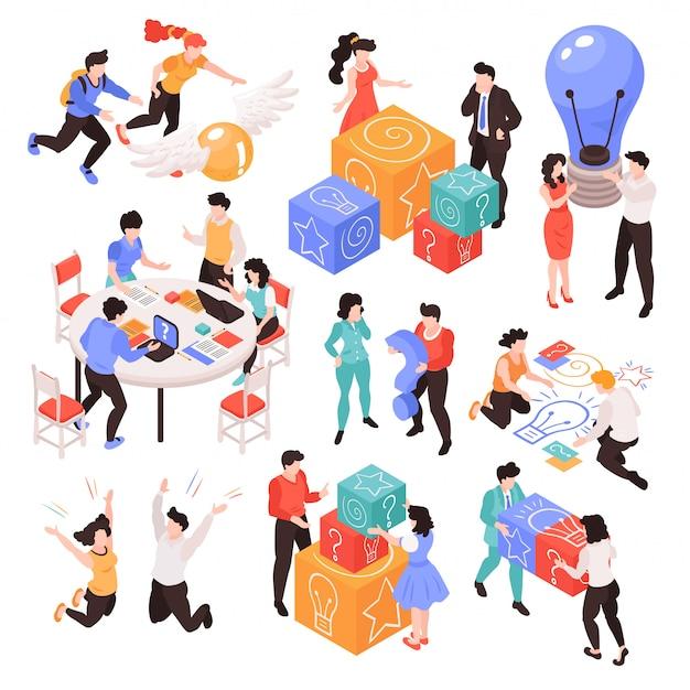 Conjunto de imagens isoladas com trabalho em equipe isométrico, brainstorming situações de processo criativo com personagens humanos e vários itens de ilustração vetorial