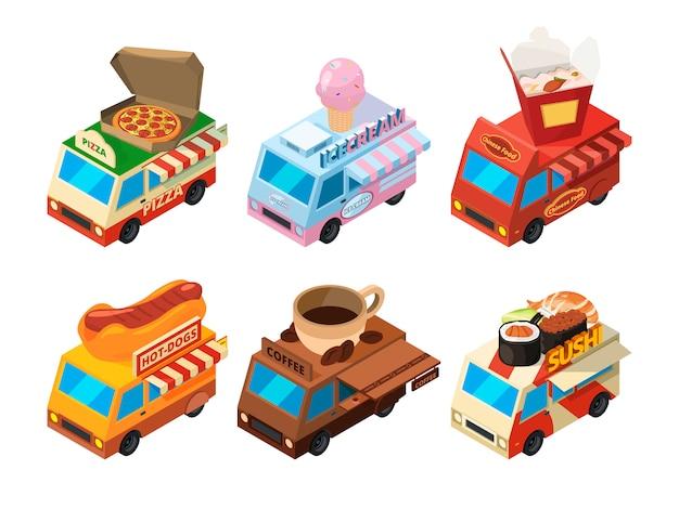 Conjunto de imagens isométricas de vetor de caminhões de comida diferentes na rua