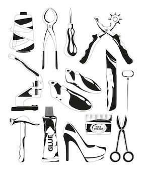 Conjunto de imagens monocromáticas de ferramentas de reparo de sapatos. ilustração de ferramentas de sapateiro, tesoura e bradawl, linha e torno