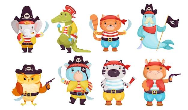 Conjunto de imagens planas de animais piratas engraçados brilhantes.