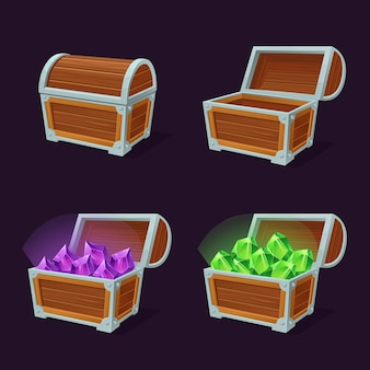 Conjunto de imagens planas de arcas de tesouro brilhantes.