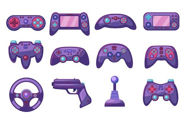 Conjunto de imagens planas de joysticks de computador coloridos brilhantes
