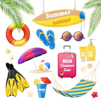 Conjunto de imagens realistas de férias de verão férias de praia tropical acessórios