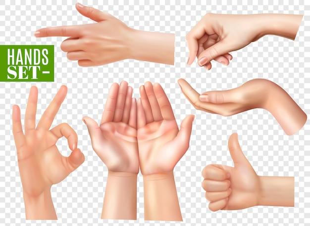 Conjunto de imagens realistas de gestos de mãos humanas com apontador dedo ok sinal polegar transparente