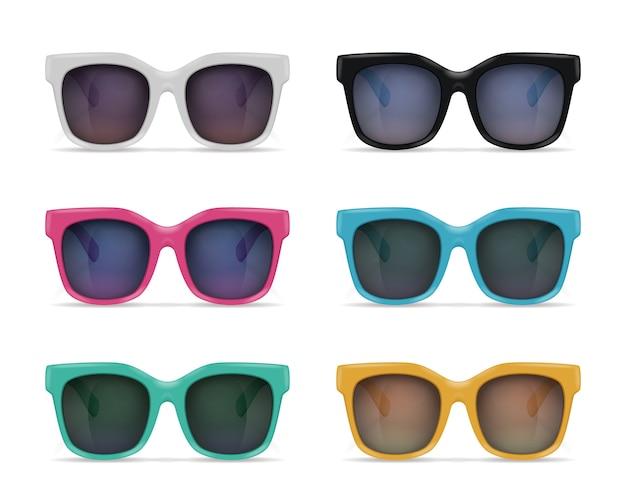 Conjunto de imagens realistas de óculos de sol isolados no fundo em branco com reflexões e modelos coloridos com sombras