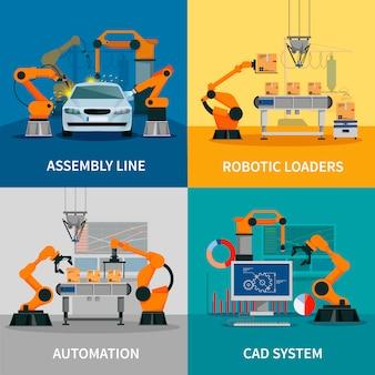Conjunto de imagens vetoriais de conceito de automação com linha de montagem e sistema cad
