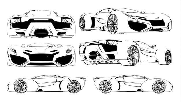 Conjunto de imagens vetoriais de um carro esportivo conceitual. espécies de diferentes lados.
