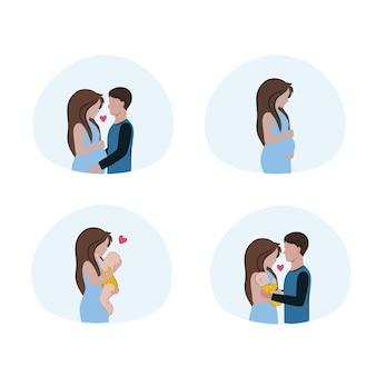 Conjunto de imagens vetoriais sobre o tema relacionamentos felizes, maternidade, gravidez e paternidade