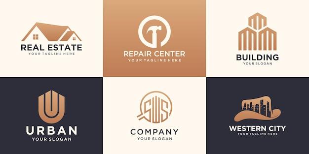 Conjunto de imobiliária e modelo de design de logotipo urbano