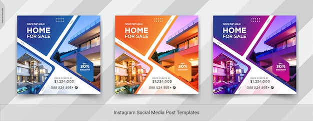 Conjunto de imóveis ou venda em casa instagram mídias sociais post design