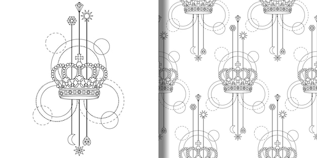Conjunto de impressão abstrata coroa e padrão sem emenda