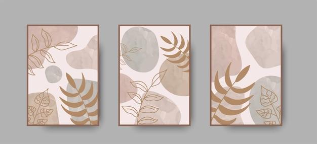 Conjunto de impressão de arte abstrata de parede boho