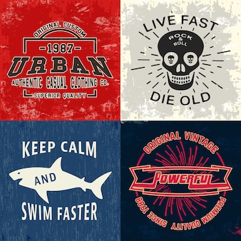 Conjunto de impressão de design vintage para carimbo de camiseta