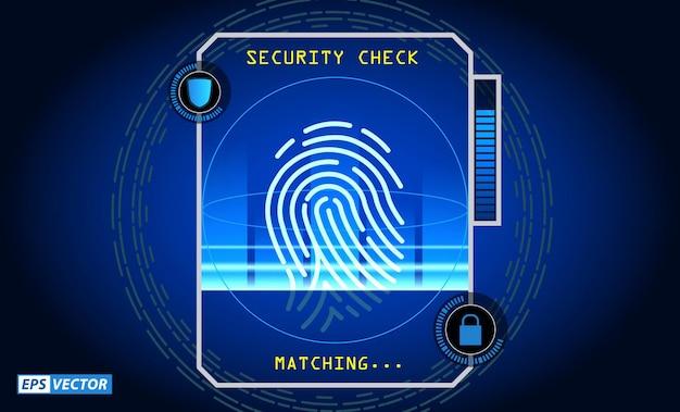 Conjunto de impressão digital de progresso de digitalização realista isolado ou autorização de acesso a sistemas de segurança