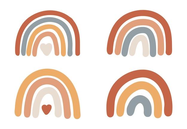 Conjunto de impressão do boho do arco-íris, arco-íris abstrato.