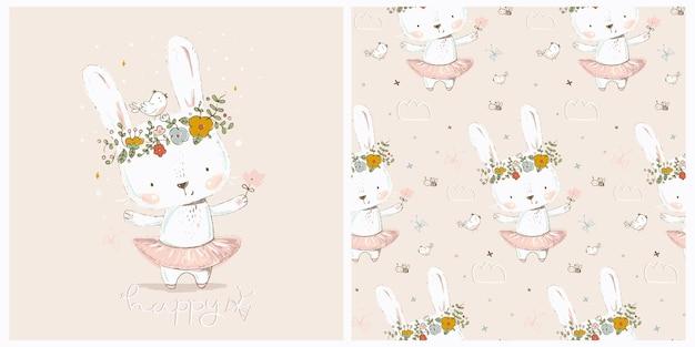 Conjunto de impressão e padrão sem emenda com o cartão de feliz páscoa da bailarina coelhinha fofa. pode ser usado para o bebê