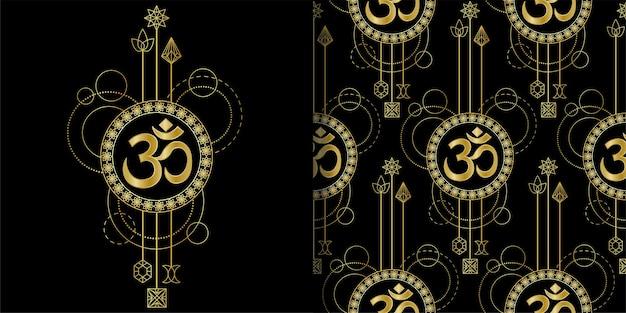 Conjunto de impressão geométrica e padrão sem emenda om gold