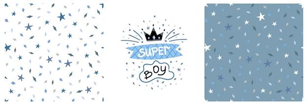 Conjunto de impressão gráfica de crianças de vetor com letras superboy e padrão com estrelas