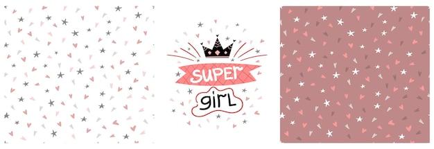 Conjunto de impressão gráfica infantil de vetor com letras super femininas e padrão sem emenda com corações