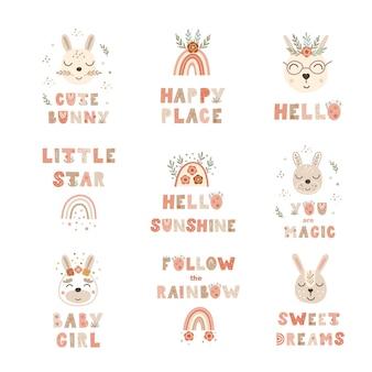 Conjunto de impressões de cartaz de berçário com citações de letras e coelhinhos. ilustração vetorial.