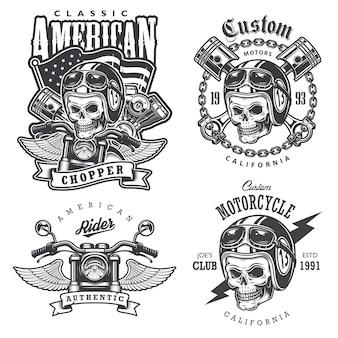 Conjunto de impressões de t-shirt de motocicleta vintage, emblemas, etiquetas, emblemas e logotipos. estilo monocromático. isolado em fundo branco