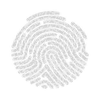 Conjunto de impressões digitais de zero e um dígitos. código binário por formato de impressão digital. ilustração vetorial