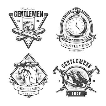 Conjunto de impressões vintage monocromático cavalheiro