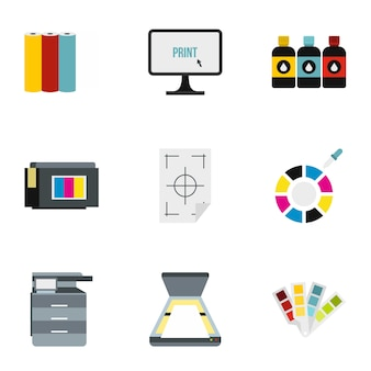 Conjunto de impressora, estilo plano