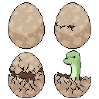 Conjunto de incubação de ovo de dinossauro isolado de pixel art