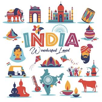 Conjunto de índia ásia país vetor arquitetura indiana tradições asiáticas