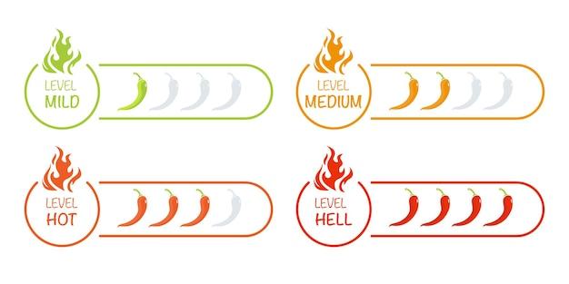 Conjunto de indicadores com intensidade de pimenta leve, média, quente e infernal. ilustração vetorial