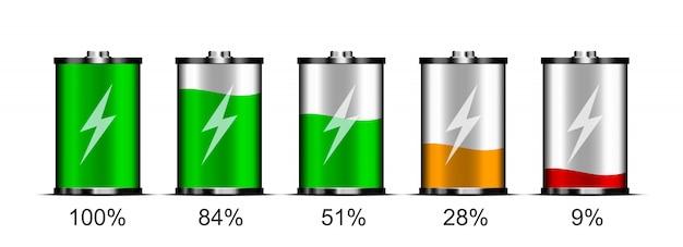 Conjunto de indicadores de bateria para o design da interface do smartphone, tablet e outros dispositivos. bateria com diferentes níveis de carga.